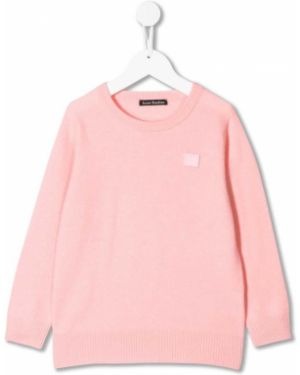 Różowy sweter wełniany z długimi rękawami Acne Studios Kids