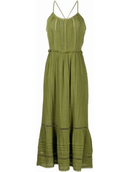С ремешком зеленое платье макси без рукавов Veronica Beard