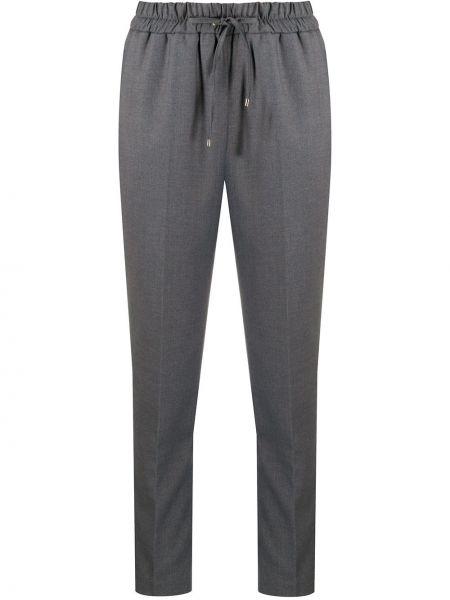 Зауженные серые брюки с поясом из вискозы Blumarine