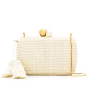 С ремешком белая сумка на цепочке металлическая Isla