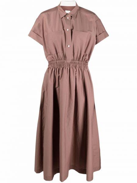 Бежевое шелковое платье миди с поясом Paul Smith