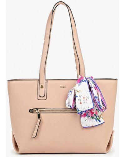 Кожаная сумка шоппер розовый Aldo