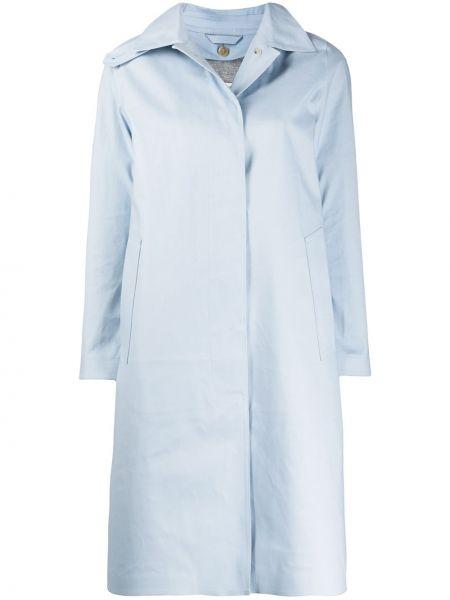 Синее длинное пальто с капюшоном с воротником Mackintosh