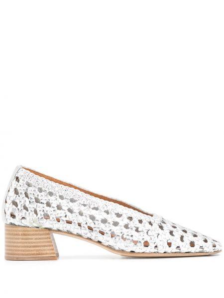 Массивные серебряные туфли-лодочки с квадратным носком квадратные Miista