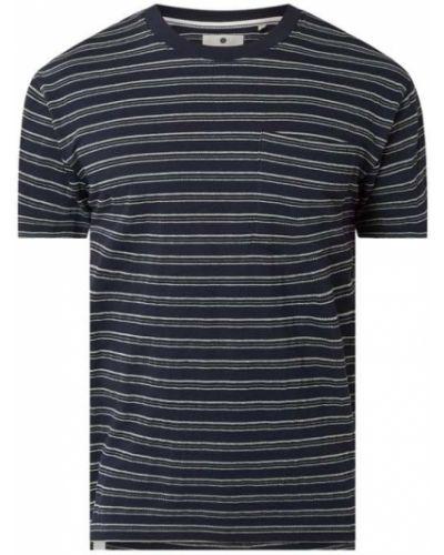 Niebieski t-shirt w paski bawełniany Anerkjendt