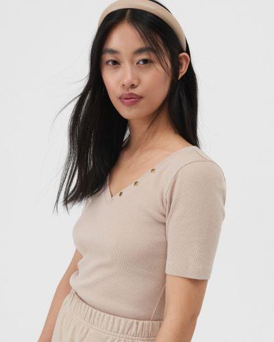 Бежевая футболка летняя Sinsay