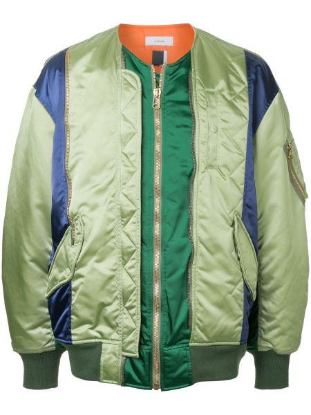 Зеленая куртка на молнии с карманами Facetasm