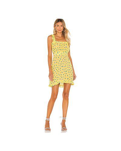 Желтое шелковое летнее платье на бретелях на резинке Faithfull The Brand