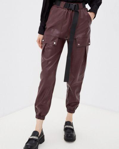 Бордовые кожаные брюки Allegri