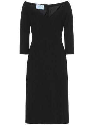 Платье миди классическое - черное Prada
