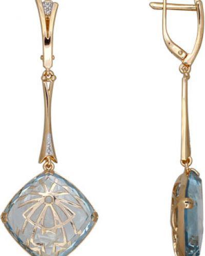 Золотые серьги с кварцем с бриллиантом Sokolov