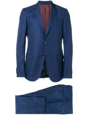 Прямой темно-синий костюмный костюм классический на пуговицах Gucci