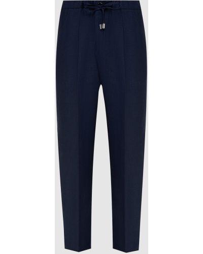 Льняные брюки - синие Enrico Mandelli