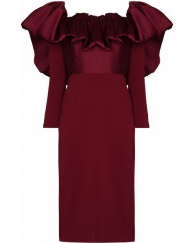 Платье миди с открытыми плечами - красное Solace London