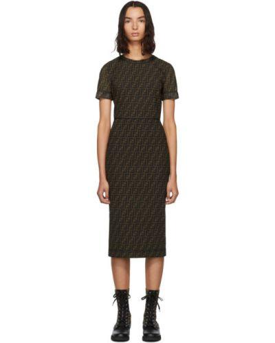 Платье сетчатое с отложным воротником Fendi