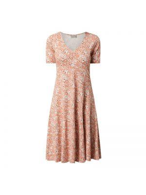 Różowa sukienka midi rozkloszowana krótki rękaw Fransa