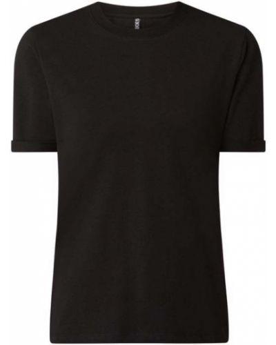 Czarny t-shirt bawełniany Pieces