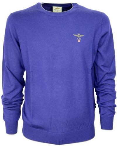 Sweter wełniany - niebieski Aeronautica Militare