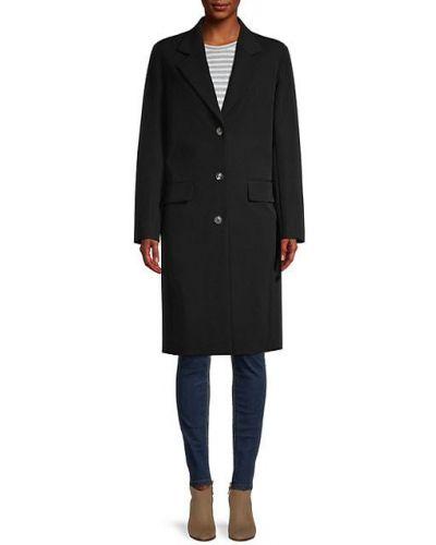 Шерстяное черное длинное пальто с карманами The Row