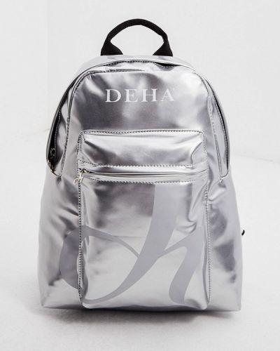 Серебряный кожаный рюкзак Deha