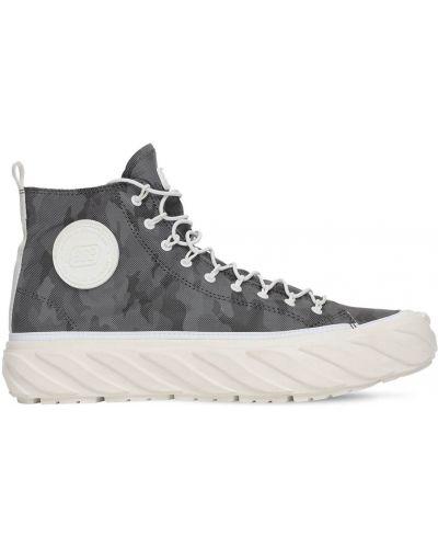 Wysoki sneakersy sznurowane koronkowe z printem Age - Across To Genuine Era