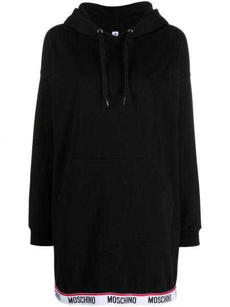С рукавами черное платье макси с капюшоном Moschino