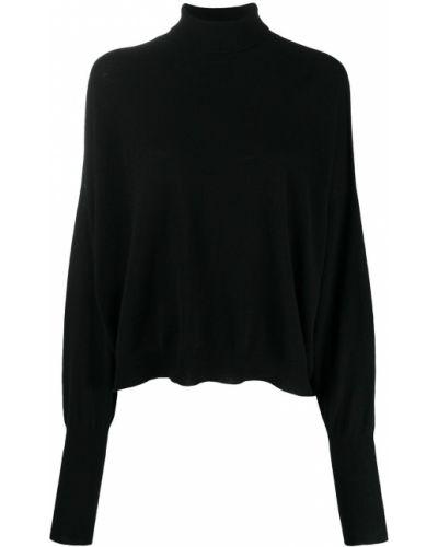 Тонкий черный вязаный джемпер с высоким воротником свободного кроя Andrea Ya'aqov