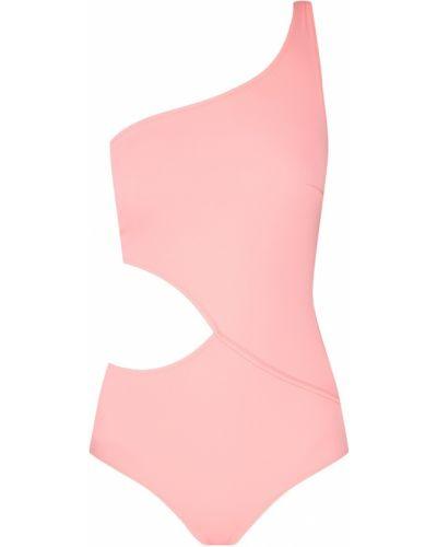 Слитный купальник розовый асимметричный Solid & Striped