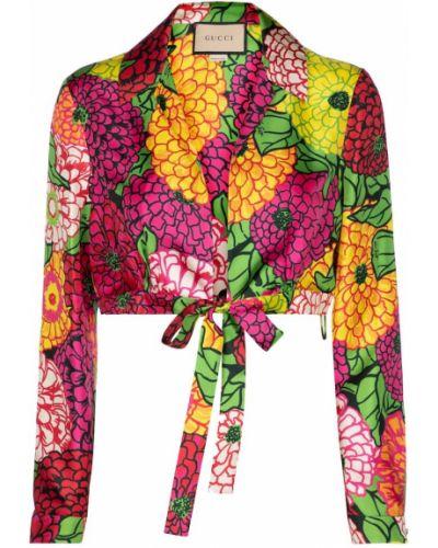 Jedwab crop top amerykański Gucci