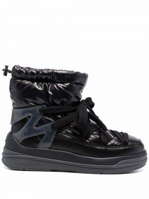 Черные кожаные ботинки Moncler