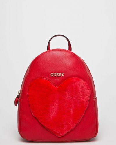 Рюкзак кожаный красный Guess Jeans