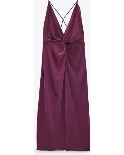 Платье с V-образным вырезом - фиолетовое Zara
