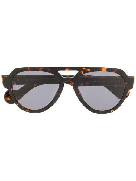 Прямые муслиновые солнцезащитные очки хаки Moncler Eyewear
