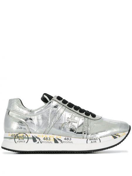 Кожаные кроссовки - серебряные Premiata
