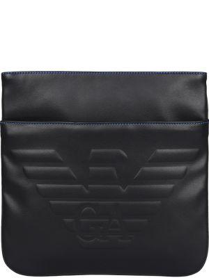 Кожаная сумка текстильная на молнии Emporio Armani