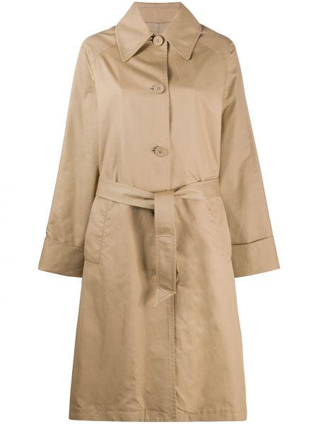 Длинное пальто с поясом на пуговицах с воротником Mm6 Maison Margiela