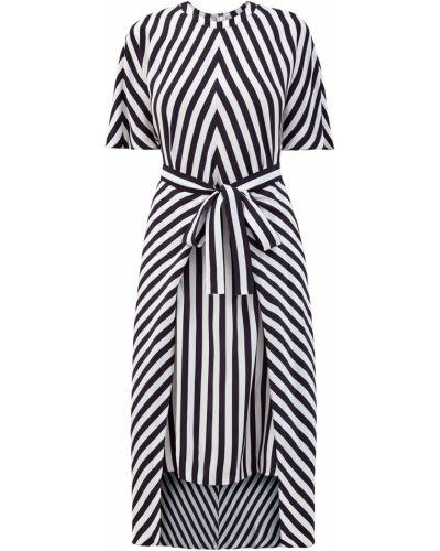 Асимметричное шелковое платье миди с вырезом с сеткой Stella Mccartney