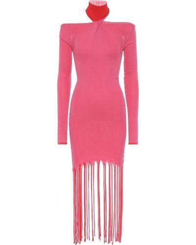 Ватное шелковое розовое платье миди с бахромой Bottega Veneta