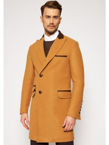 Płaszcz wełniany - brązowy Rage Age