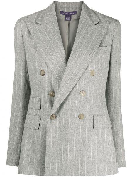 Малиновый удлиненный пиджак двубортный в полоску Ralph Lauren Purple Label