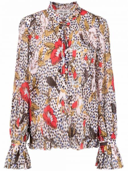 Biała bluzka z długimi rękawami Dvf Diane Von Furstenberg