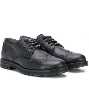 Кожаные черные балетки на каблуке на шнуровке Monnalisa