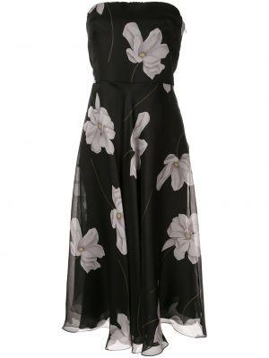 Вечернее платье с цветочным принтом черное Ralph Lauren Collection