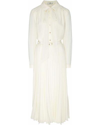 Свободное бежевое платье миди с поясом Laroom