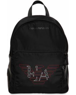 Czarny plecak z siateczką z nylonu Emporio Armani