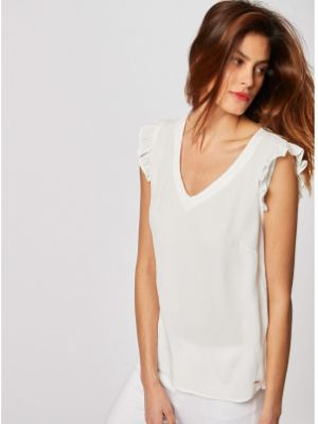 Блузка с коротким рукавом с V-образным вырезом из вискозы Morgan