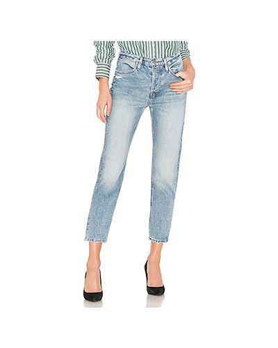 Прямые джинсы в полоску с манжетами Frame