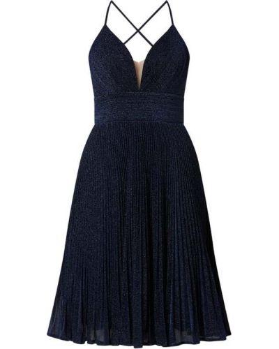 Niebieska sukienka wieczorowa rozkloszowana z dekoltem w serek Mascara