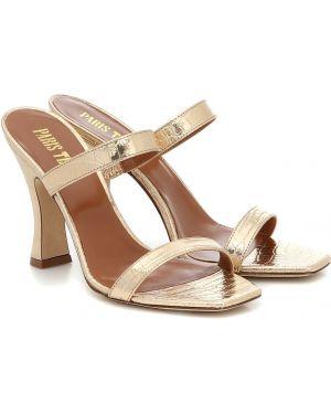 Кожаные туфли золотые жёлтые Paris Texas