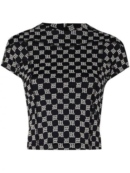 Czarny koszula z krótkim rękawem krótkie rękawy okrągły dekolt okrągły Misbhv
